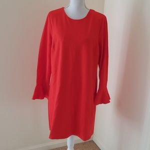 Cece Size L Red Bell Sleeve Dress